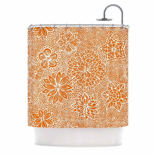 KESS InHouse Julia Grifol Garden Flowers Orange Floral Shower