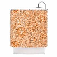 KESS InHouse Julia Grifol Garden Flowers Orange Floral Shower Curtain (69x70)