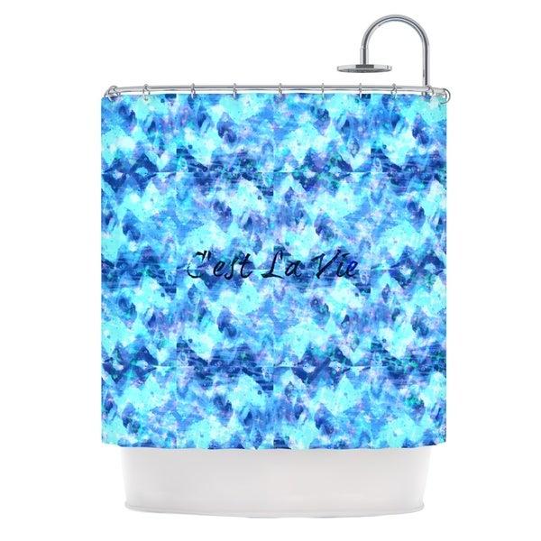 KESS InHouse Ebi Emporium C'est La Vie Revisited Blue Aqua Shower Curtain (69x70)