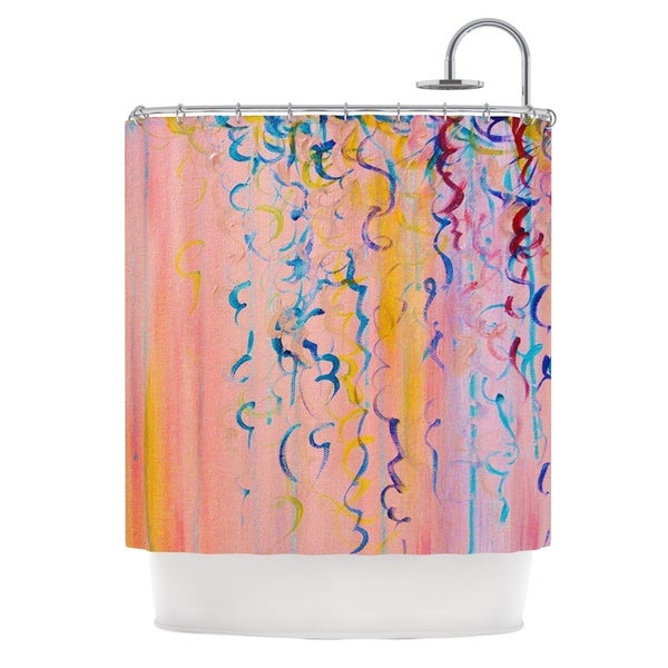 """KESS InHouse Ebi Emporium """"Cotton Candy Whispers"""" Pink Painting Shower Curtain (69x70) - 69 x 70"""