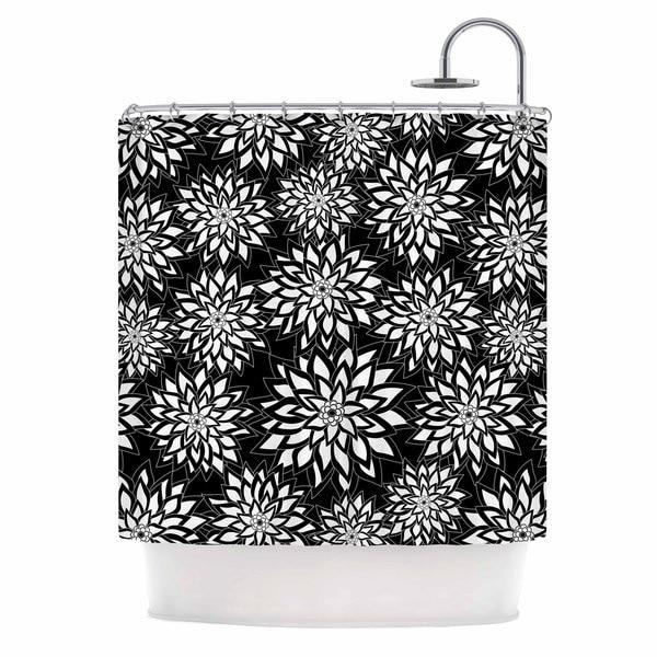 KESS InHouse Julia Grifol Black And White Garden Digital Vector Shower Curtain (69x70)