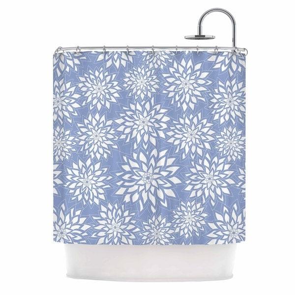KESS InHouse Julia Grifol Blue Garden Aqua White Shower Curtain (69x70)