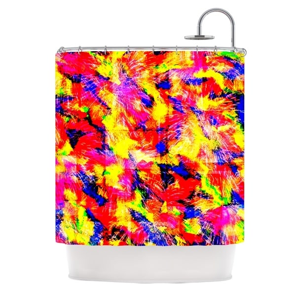KESS InHouse Ebi Emporium The Flock Yellow Red Shower Curtain (69x70)