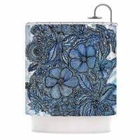 KESS InHouse Julia Grifol Blue Flowers In My Garden Aqua Navy Shower Curtain (69x70)