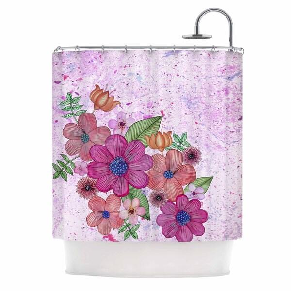 KESS InHouse Julia Grifol My Garden In Pink Magenta Floral Shower Curtain (69x70)