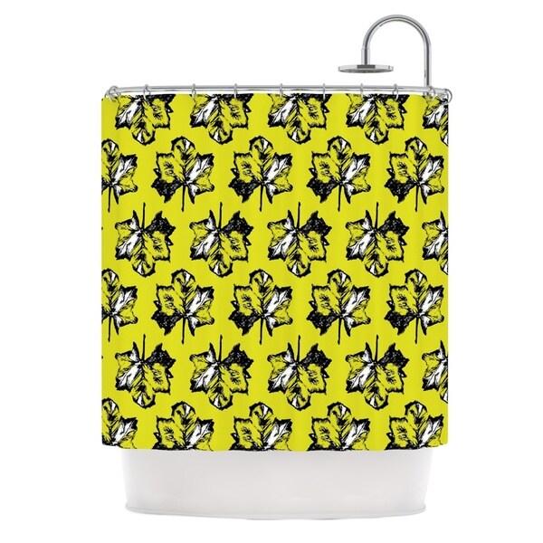 KESS InHouse Julia Grifol Green Tree Leaves Yellow Shower Curtain (69x70)