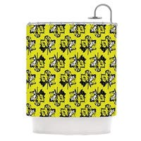 KESS InHouse Julia Grifol Green Tree Leaves Yellow Shower Curtain (69x70)