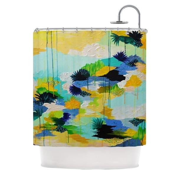 KESS InHouse Ebi Emporium Journey to Paradise Yellow Aqua Shower Curtain (69x70)