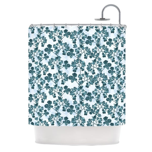 KESS InHouse Julia Grifol Green Flowers Teal Shower Curtain (69x70)