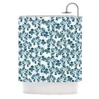 KESS InHouse Julia Grifol Green Flowers Teal Shower Curtain (69x70)