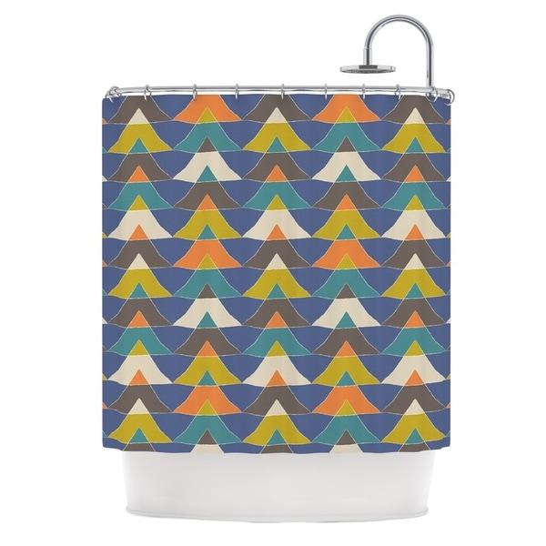 KESS InHouse Julia Grifol Colorful Triangles Blue Multicolor Shower Curtain (69x70)