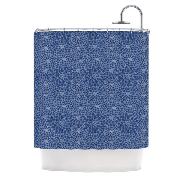 KESS InHouse Julia Grifol White Flowers on Blue Navy Blue Shower Curtain (69x70)