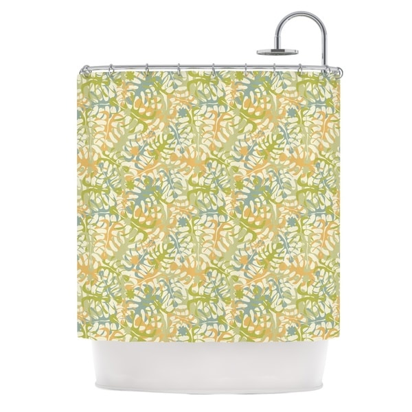 KESS InHouse Julia Grifol Warm Tropical Leaves Green Orange Shower Curtain (69x70)