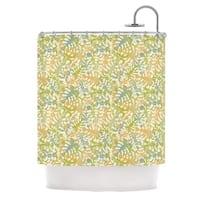 KESS InHouse Julia Grifol Warm Tropical Leaves Green Orange Shower Curtain (69x70)