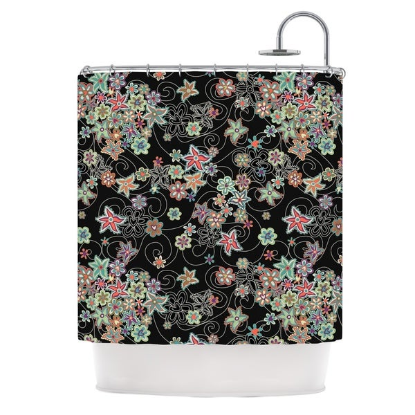 KESS InHouse Julia Grifol My Small Flowers Black Floral Shower Curtain (69x70)