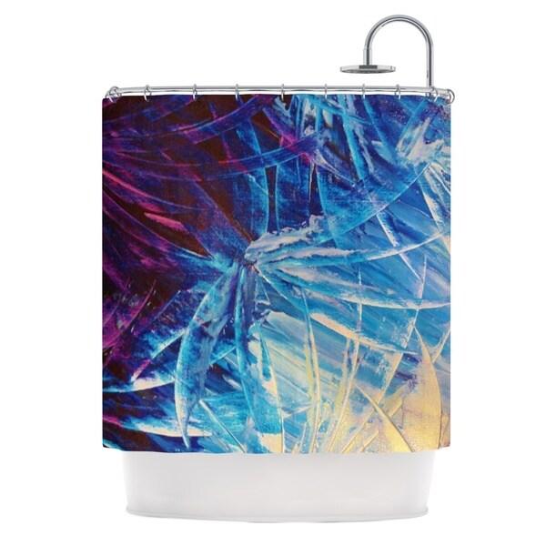 KESS InHouse Ebi Emporium Night Flowers Blue White Shower Curtain (69x70)