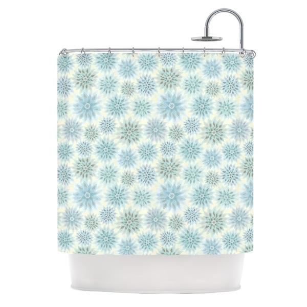 KESS InHouse Julia Grifol My Delicate Flowers Blue Green Shower Curtain (69x70)