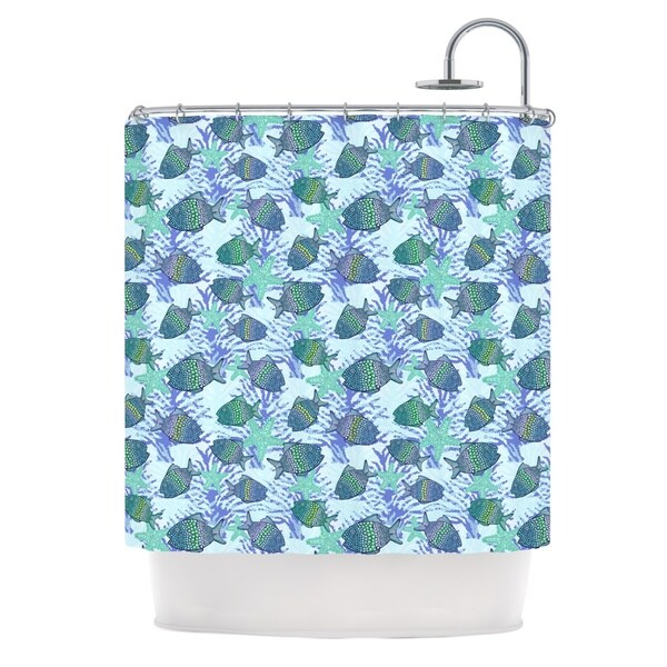 KESS InHouse Julia Grifol My Colorful Fishes Blue Teal Shower Curtain (69x70)