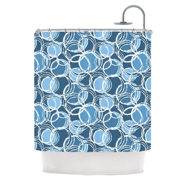 KESS InHouse Julia Grifol Simple Circles in Blue Shower Curtain (69x70)