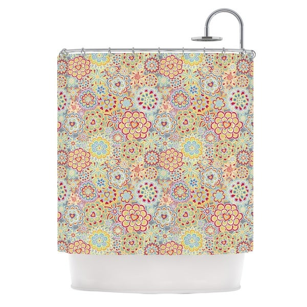 KESS InHouse Julia Grifol My Happy Flowers in Red Shower Curtain (69x70)