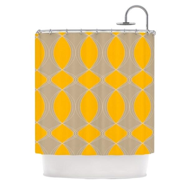 KESS InHouse Julia Grifol Geometries in Yellow Shower Curtain (69x70)
