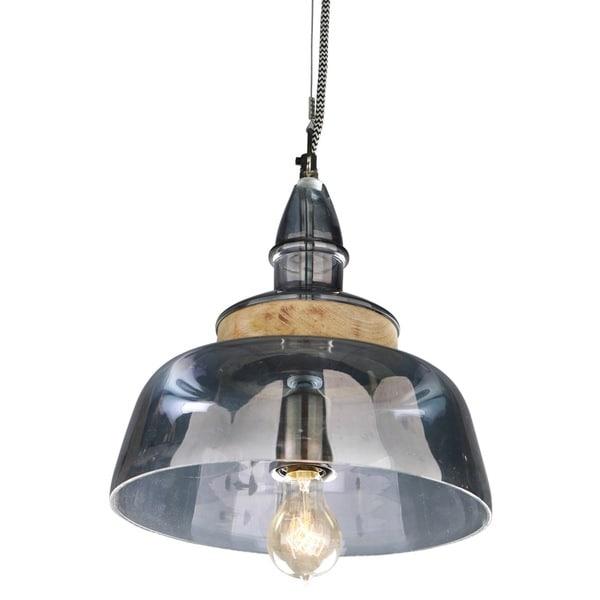 Shop Glass Wood Hanging Pendant Light On Sale Free