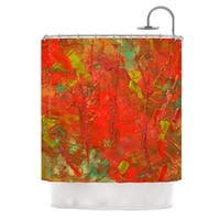 KESS InHouse Jeff Ferst Crimson Forest Red Green Shower Curtain (69x70)