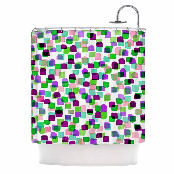 KESS InHouse Ebi Emporium Retro Mod Dots 3 Green Purple Shower Curtain (69x70)