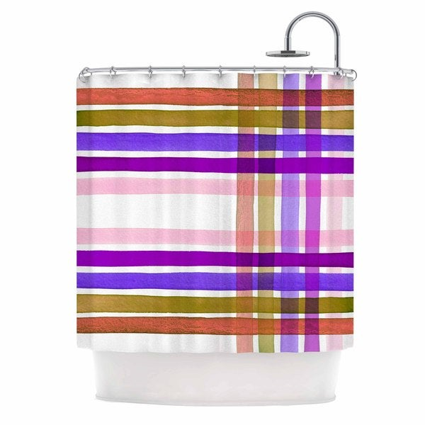 KESS InHouse Ebi Emporium Plaid Stripes In Color 6 Pink Purple Shower Curtain (69x70)