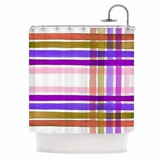 kess inhouse ebi emporium plaid stripes in color 6 pink purple shower curtain 69x70