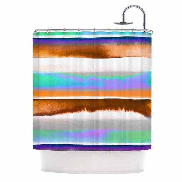 KESS InHouse Ebi Emporium Prism Stripes 1 Purple Aqua Shower Curtain (69x70)