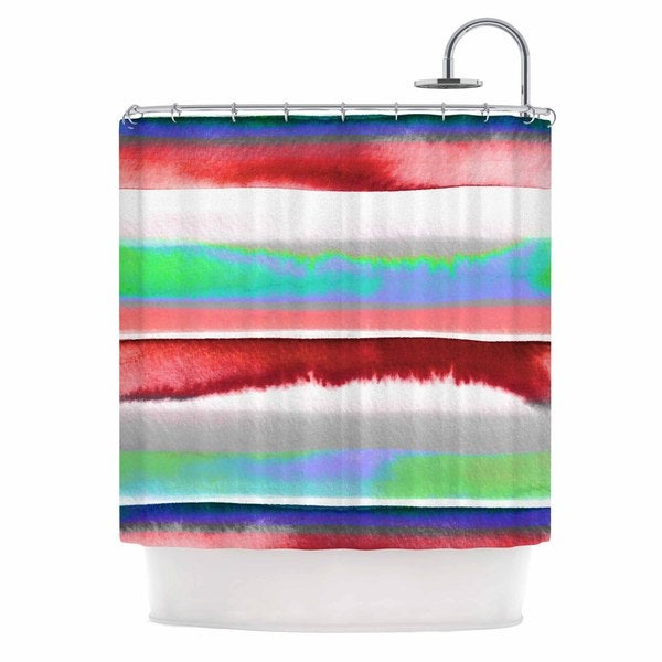KESS InHouse Ebi Emporium Prism Stripe 2 Red Blue Shower Curtain (69x70)