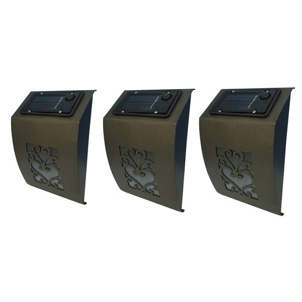 Set of 3 Scroll Solar Wall Lights