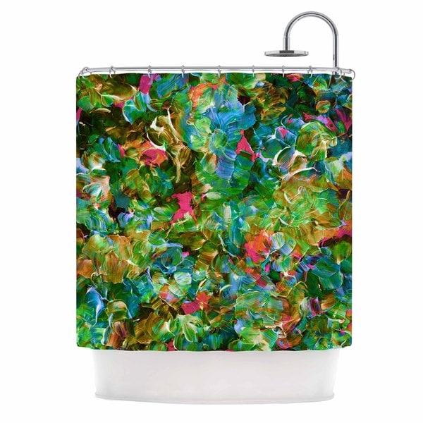 KESS InHouse Ebi Emporium Bloom On! Tropical Green Blue Shower Curtain (69x70)