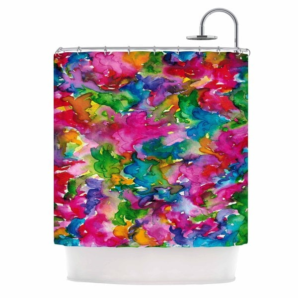 KESS InHouse Ebi Emporium Summer Swirls Pink Green Shower Curtain (69x70)