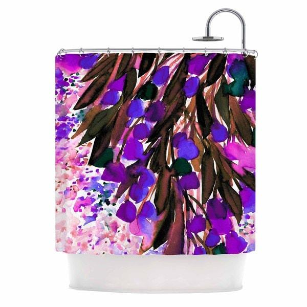 "KESS InHouse Ebi Emporium ""Botanical Regency, Purple"" Pink Black Shower Curtain (69x70)"