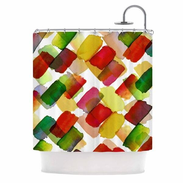 KESS InHouse Ebi Emporium Strokes Of Genius 4, Red Green Gold White Shower Curtain (69x70)