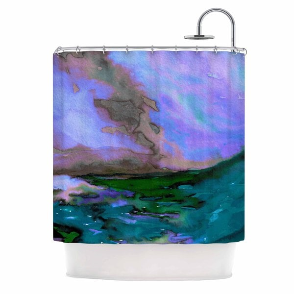 KESS InHouse Ebi Emporium Elevated 3, Teal Purple Blue Shower Curtain (69x70)