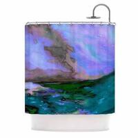 KESS InHouse Ebi Emporium Elevated 3, Teal  Purple Blue Shower Curtain (69x70)
