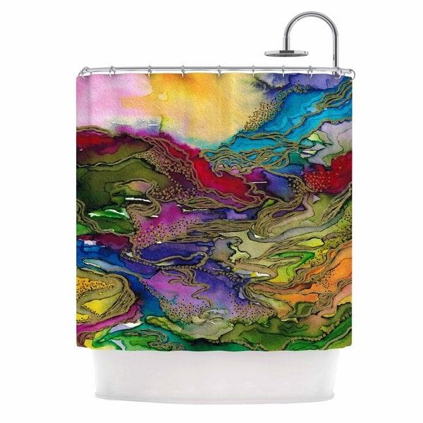 KESS InHouse Ebi Emporium Bring On Bohemia 4, Rainbow Teal Yellow Shower Curtain (69x70)
