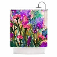 KESS InHouse Ebi Emporium Floral Insurgence 3 Green Pink Shower Curtain (69x70)