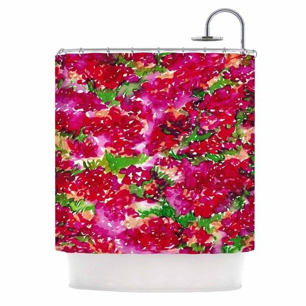 KESS InHouse Ebi Emporium Floral Assumption, Red Pink Green Pink Shower Curtain (69x70)