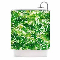 KESS InHouse Ebi Emporium In The Meadow 1 - Green White  Abstract Painting Shower Curtain (69x70)