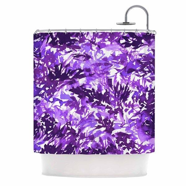 KESS InHouse Ebi Emporium Floral Fiesta Yellow Purple pattern Watercolor Shower Curtain (69x70)