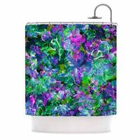 KESS InHouse Ebi Emporium Bloom On! Exotic Green Purple Shower Curtain (69x70)