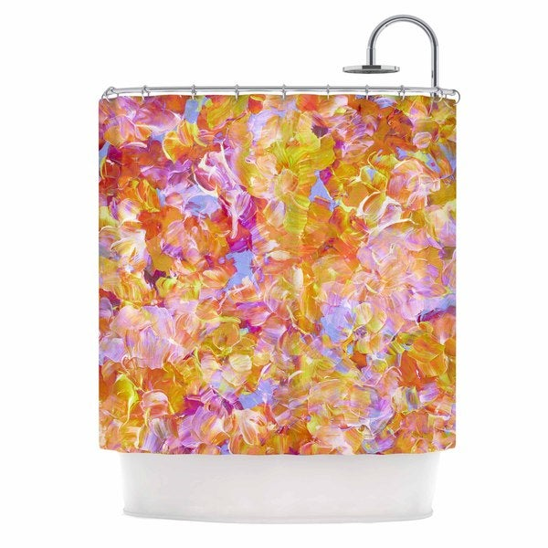 KESS InHouse Ebi Emporium Bloom On! Yellow Orange Pink Orange Shower Curtain (69x70)