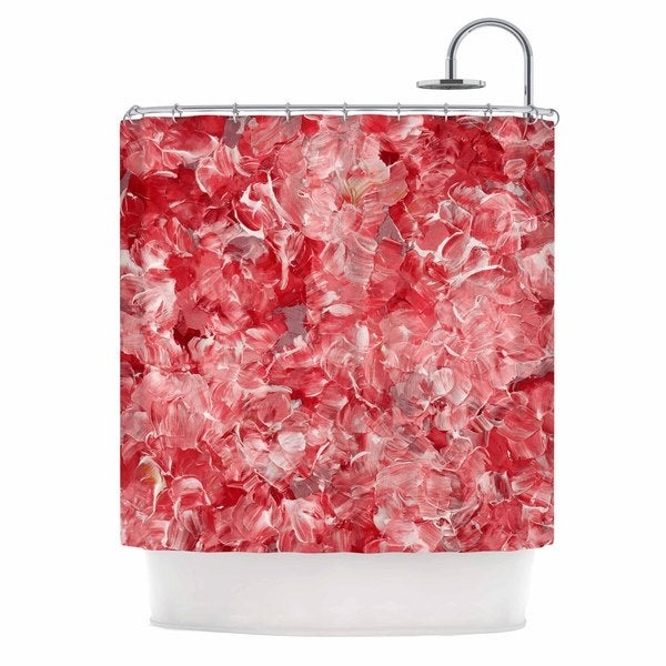 KESS InHouse Ebi EmporiumBloom On! Red White Pink Abstract Shower Curtain (69x70)