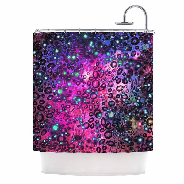 KESS InHouse Ebi Emporium Rainbow Dotty Ocean, Purple Pink Black Shower Curtain (69x70)