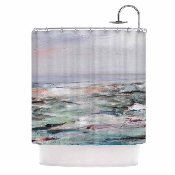 "KESS InHouse Iris Lehnhardt ""Coastal Scenery"" Pastel Abstract Shower Curtain (69x70) - 69 x 70"