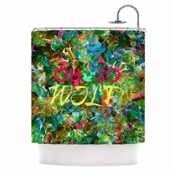 KESS InHouse Ebi Emporium Oh So Wild  Green Yellow Shower Curtain (69x70)